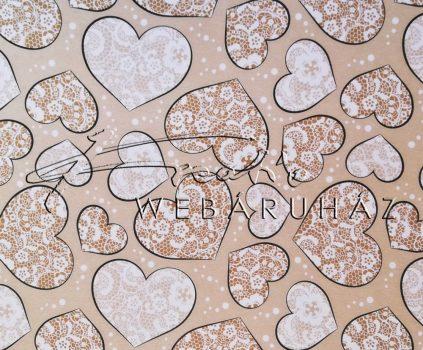 Kartonpapír - Just Married Csipkemintás szívek, krémszínű karton esküvői meghívókhoz