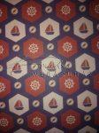 Kartonpapír - Tengerész piros-kék Vitorláshajó mozaik mintás karton 29,5x20cm, 1 lap