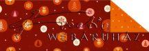 Kartonpapír - Karácsonyi varázslat mintás Karton apró téli motívumokkal, bordó-narancs