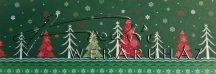 Kartonpapír - Karácsonyi varázslat Csomagolópapír mintás Karton, fenyőfa és hópelyhek