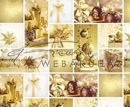 Kartonpapír - Karácsonyi hangulat fotómontázs, Aranyszínű karácsonyi díszekkel mintázott