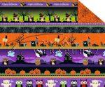 Kartonpapír - Halloween, rémisztő bagoly figurák mintás Karton, 300 g, 1 lap