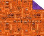 Kartonpapír - Halloween színes, feliratos, bagoly, szellem, pók mintás Karton, 300 g, 1 lap