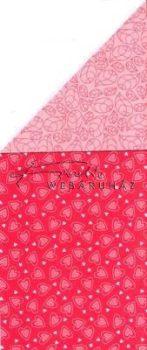 Kartonpapír - Poesie piros szíves mintás karton, 29,5x20cm, 1 lap