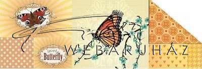 Kartonpapír - Pillangók sárga alapon, színes karton, 1 lap