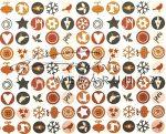 Kartonpapír - Karácsonyi varázslat apró körös mozaik, karácsonyi motívumok barna narancs