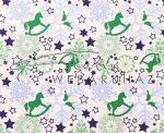 Kartonpapír - Karácsonyi varázslat zöld Hintalovak kék hópelyhekkel sormintás karton