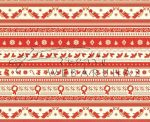 Kartonpapír - Nosztalgia Karácsony Piros-krémfehér, madárka, fagyöngy, koszorú sormintás