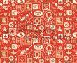 Kartonpapír - Nosztalgia Karácsony Piros-fehér, madárka és koszorú mintás 29,5x20cm, 1lap