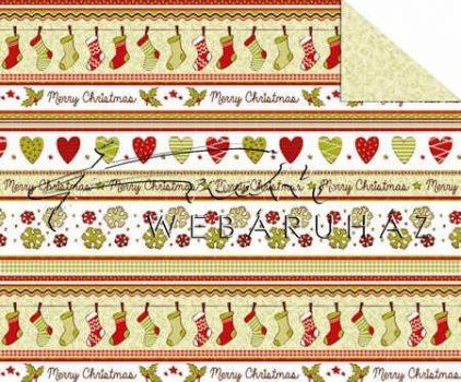 """Kartonpapír - """"Karácsonyi tradíciók"""" Piros, zöld szív, téli zokni,  sormintás 29,5x20cm"""