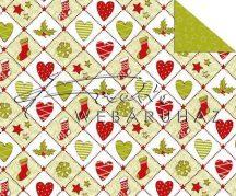 Kartonpapír - Karácsonyi tradíciók Piros, zöld szív, téli zokni, hópehely mozaik mintás