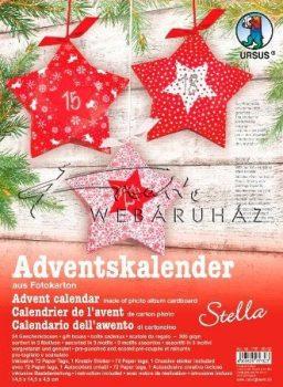 Csillag alakú piros mintás adventi ajándékdobozok