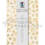 Kartonpapír - Esküvői metálfényű arany és krém mintás dombornyomott karton, A4 - 25 lap