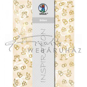 Kartonpapír - Esküvői mintás arany színnel dombornyomott karton, A4 - 1 lap