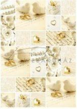 Kartonpapír csomag - Esküvői krém és arany mintás fehér karton arany fóliázással, A4 - 5 lap