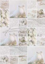 Kartonpapír - Esküvői metálfényű ezüst és fehér mintás design karton, A4 - 25 lap