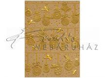 Kartonpapír - Karácsonyi díszek, mintás arany színnel dombornyomott karton, 250gr, A4 - 1 lap
