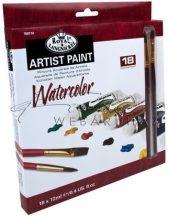 Tubusos akvarellfesték készlet  18 - Royal - 2 ecsettel