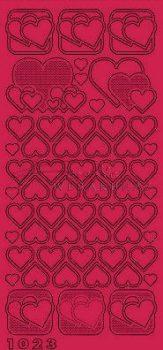 Piros szívek fekete szegéllyel,  Peel-Off